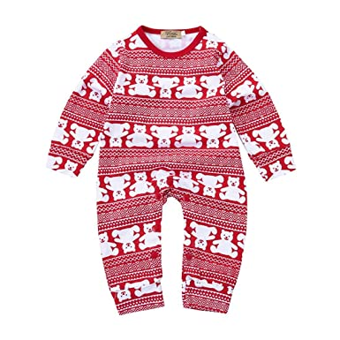 e49f460a6 Transer Baby Rompers, Infant Boys Girls Christmas Jumpsuits Bears Printed  Rompers 0-24 Months Newborn Kids Clothes Xmas Outfits: Amazon.co.uk:  Clothing