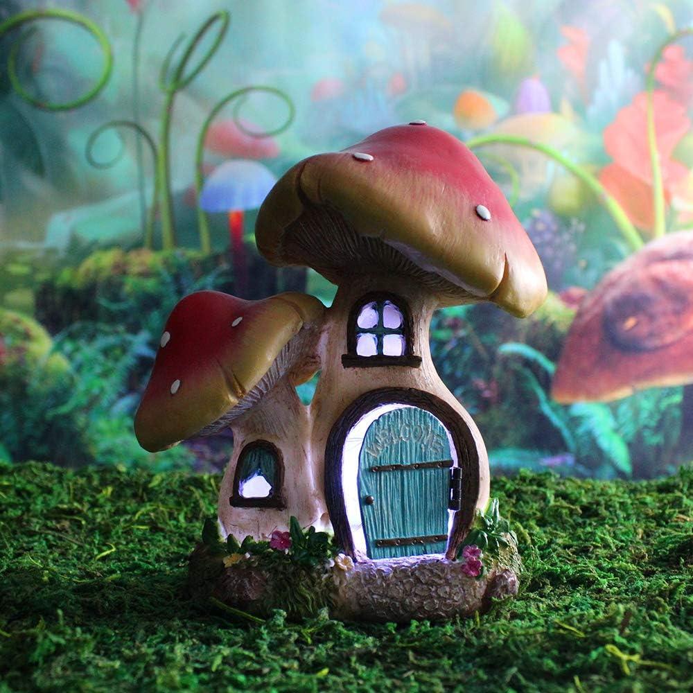 NW Wholesaler Fairy Garden Miniature Mushroom House with LED String Lights and Working Door - 6 Inch Fairy Garden Home Detailed Fairy Garden House with Working Door