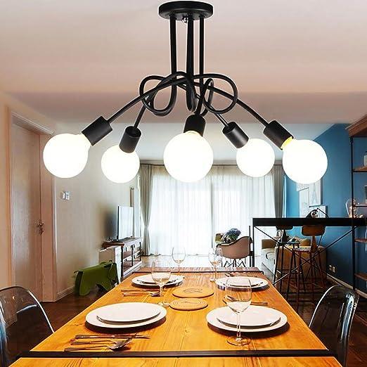 Luminaire Plafonnier, Edison 5 Têtes Metal Fer Lampes Vintage Industrial  Plafonnier Lampe de suspension Luminaire E27 Rétro Salle de Salle à Manger  ...