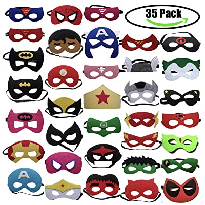 35pcs Cartoon Party Supplies Favors Superhero Masks Children Cosplay Character Felt Masks Party for Kids: Toys & Games