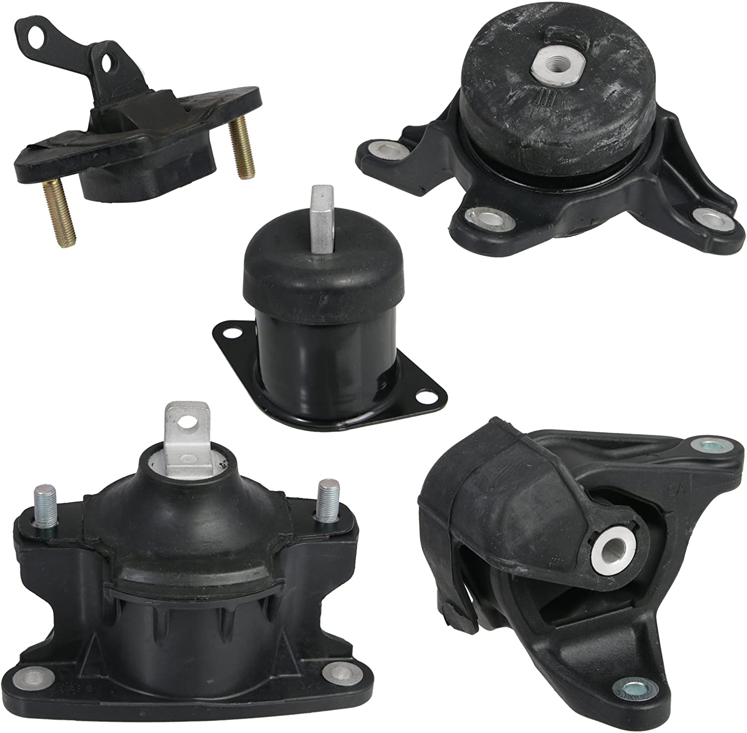 5pc Motor Mounts Set Kit Compatible with 08-12 Honda Accord and 09-13 Acura TSX - 2.4L Automatic Auto Transmission - Engine Mounts