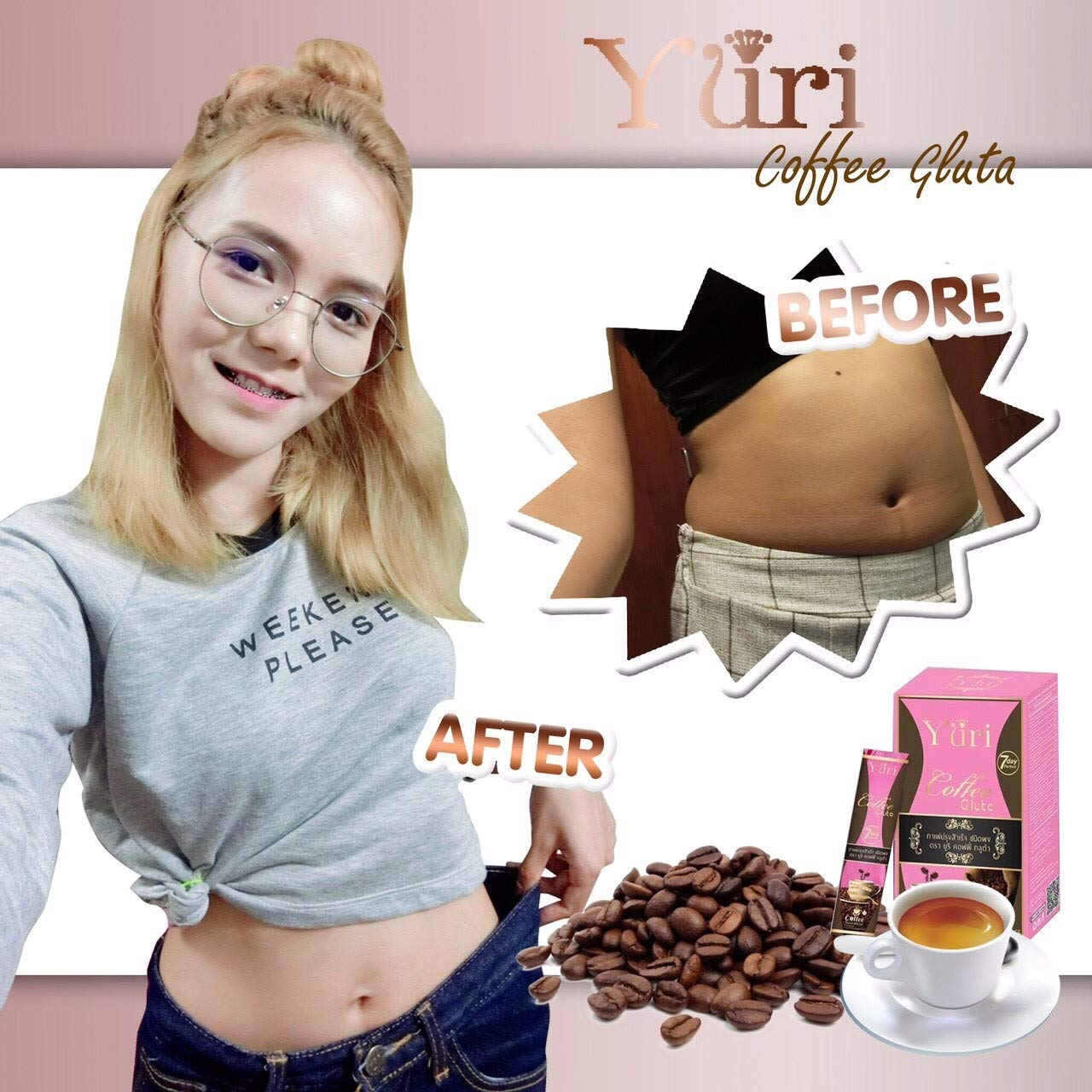 (2 Box.) Coffee Gluta Diet Coffee for Weight Loss & Whitening Skin 7 days perfect (10 pcs.per Box)