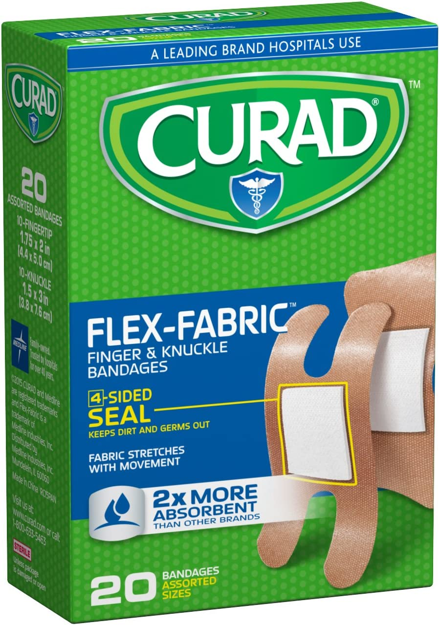 Curad Flex-Fabric Fingertip, Knuckle Bandages, 20 Count (Pack of 6)