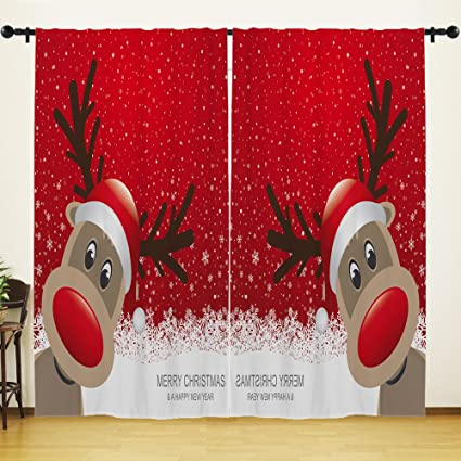 Sensational Youhome Window Curtain For Living Room Merry Christmas Happy New Year Deer Curtain Home Decorations For Bedroom Kids Room 2 Panels Download Free Architecture Designs Scobabritishbridgeorg