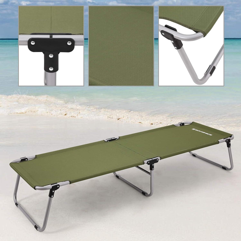 SONGMICS Lit de Camp Pliable lit Pliant de Voyage Charge Max 260kg 190 x 63 x 36 cm vert militaire