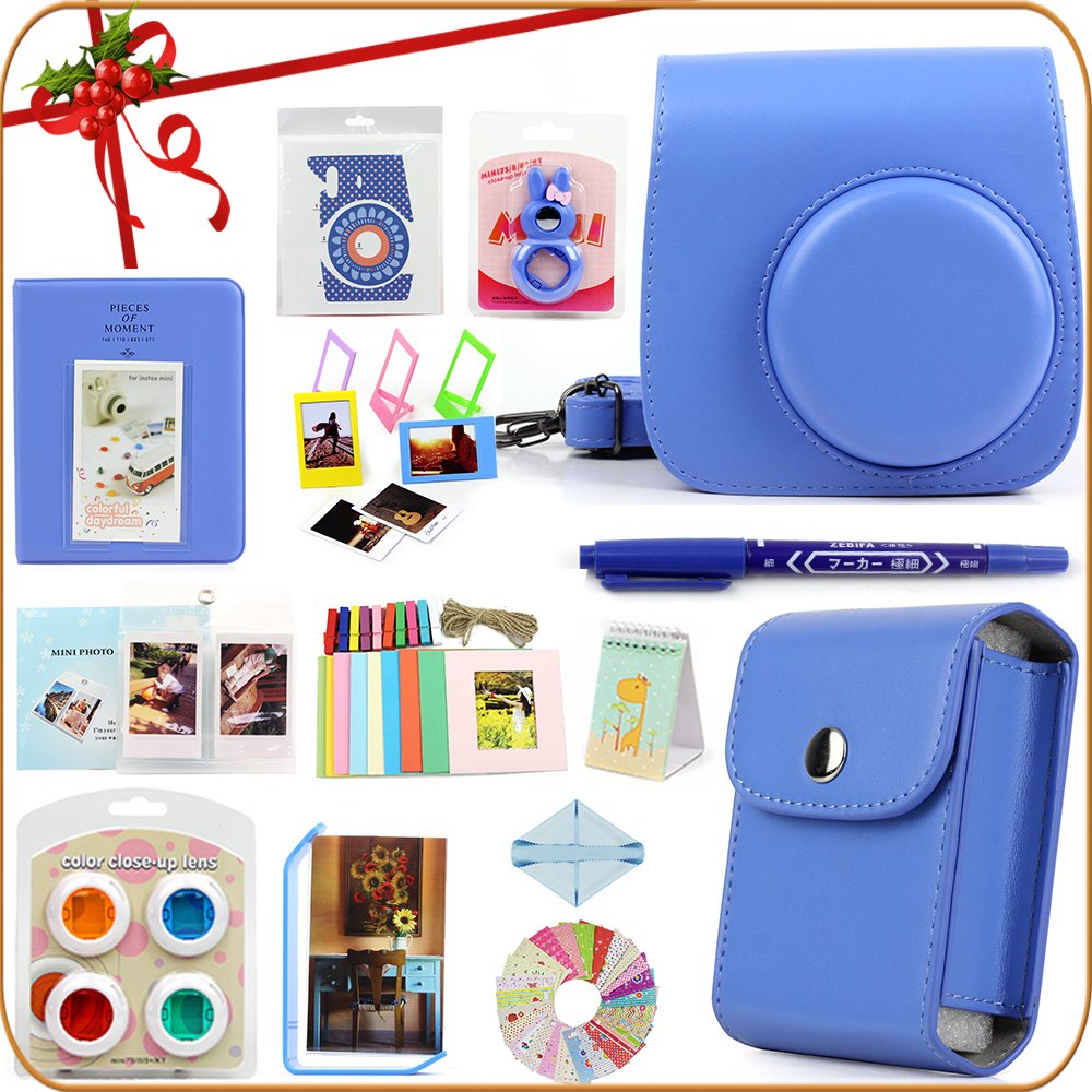 LuckyStar 20 in 1 Accessories Bundles for Fujifilm Instax Mini 8 8+ 9 Instant Camera (Cobalt Blue)