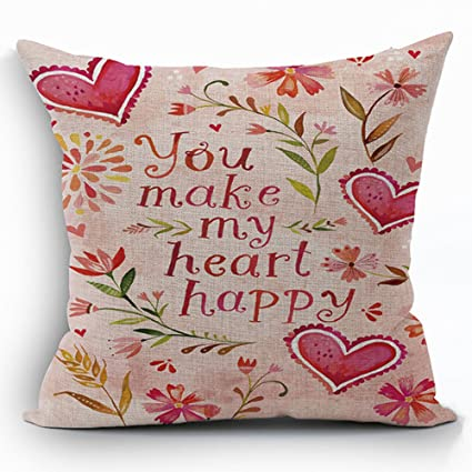 Amazon OFloral Cotton Linen Pillowcase Vanlentine's Day Gift Interesting How To Make A Decorative Pillow Case