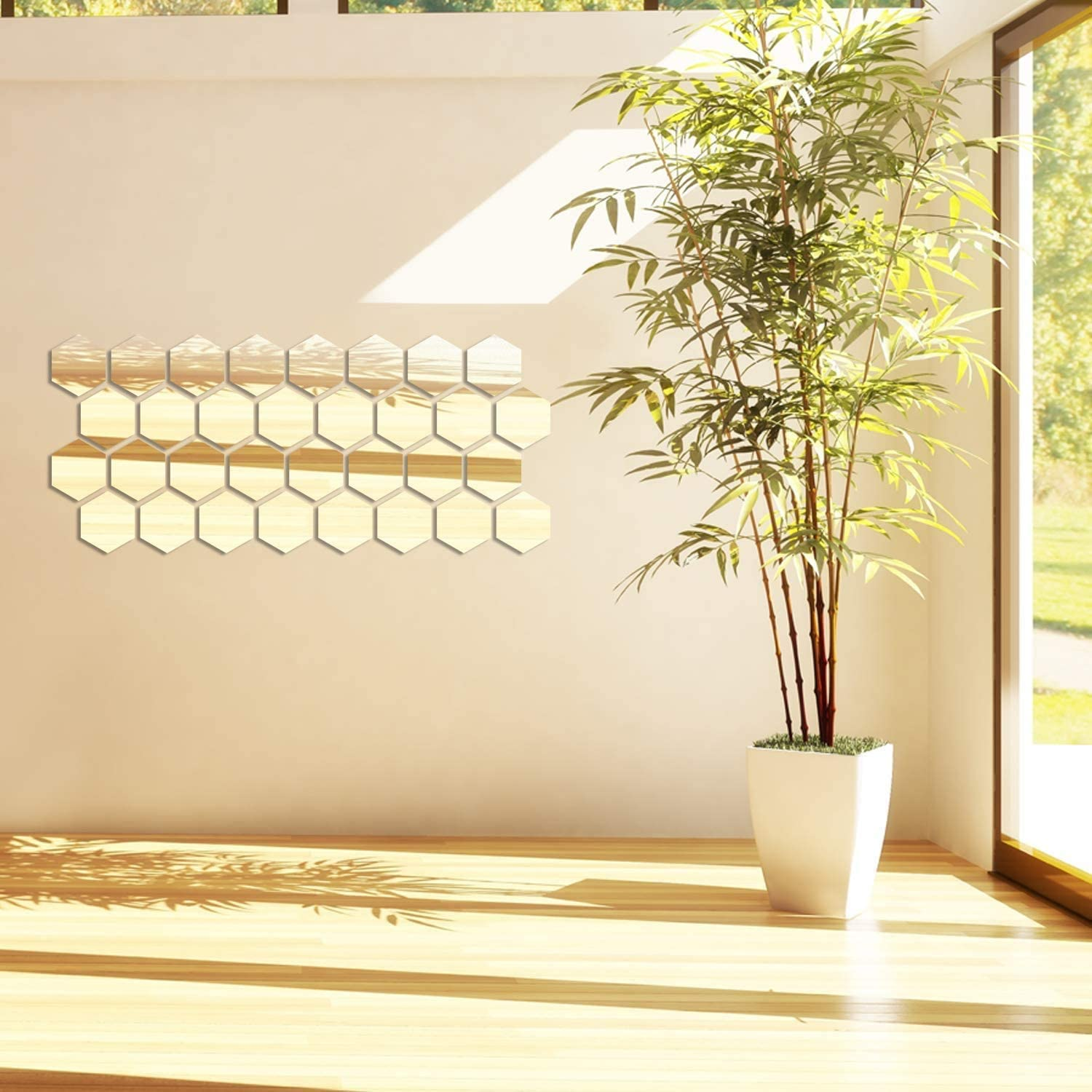 KINOEE 24 Pieces Removable Acrylic Easy to Clean Mirror Setting Wall Sticker Decal for Living Room Decoration & Home Décor - Self Adhesive Aesthetic Tiles (Middle Hexagon, 5 x 4.3 x 2.5 Inches)