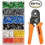 ATPWONZ Crimper Plier Set 0.25-6.0mm² Self-adjustable Ratchet Wire Crimping Tools Ferrule Insulated Crimper with 800 AWG Wire Terminal Crimp Connector Ferrule Cord Pin End Kit