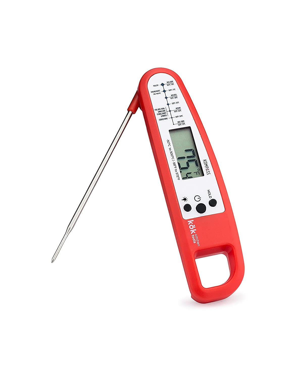 Kompass Folding Digital Kitchen Thermometer with Large LED Display and Auto Off. Magnetic Case. Used For BBQ Grilling, Baking, Coffee and Tea Brewing and Candy Making (Salsa)
