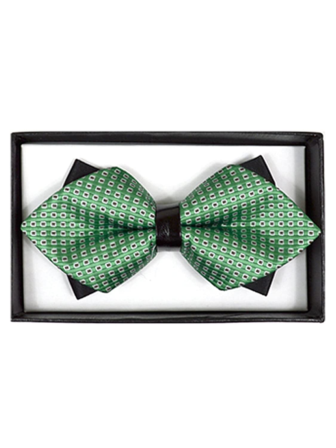DBB3030-23 Mens Green Geometric Diamond Tip Bow Tie