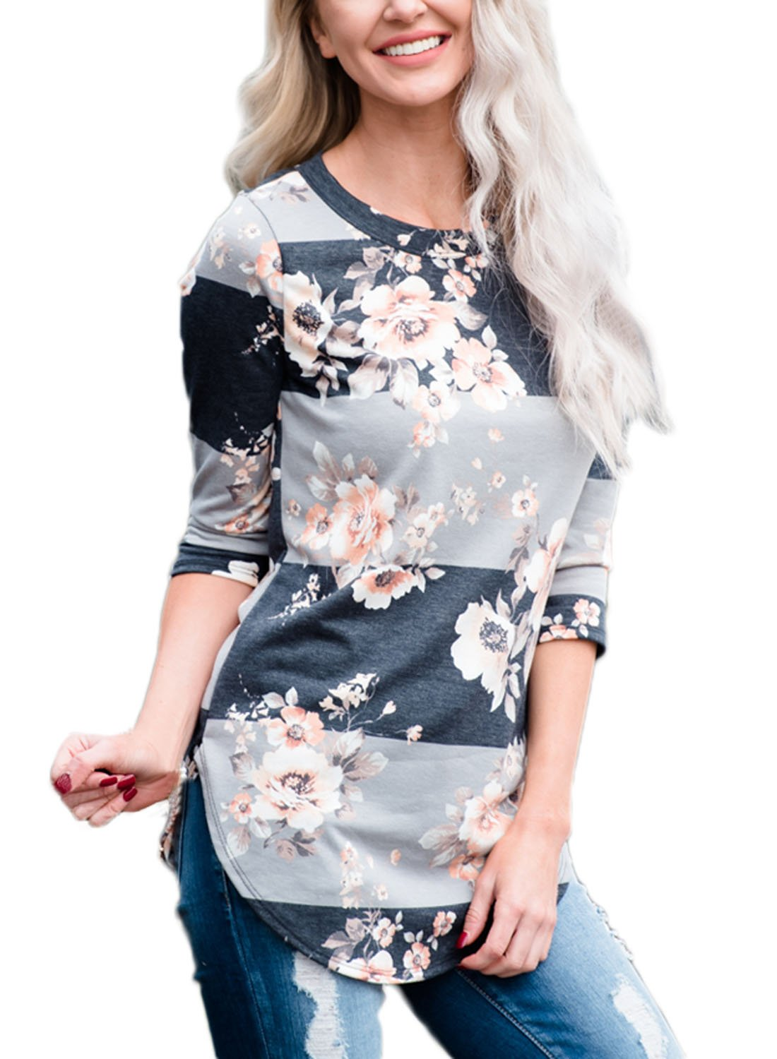Asvivid Womens Summer 3/4 Sleeve Blouses Crew Neck Floral Print T Shirt Tops Plus Size 2X Grey by Asvivid
