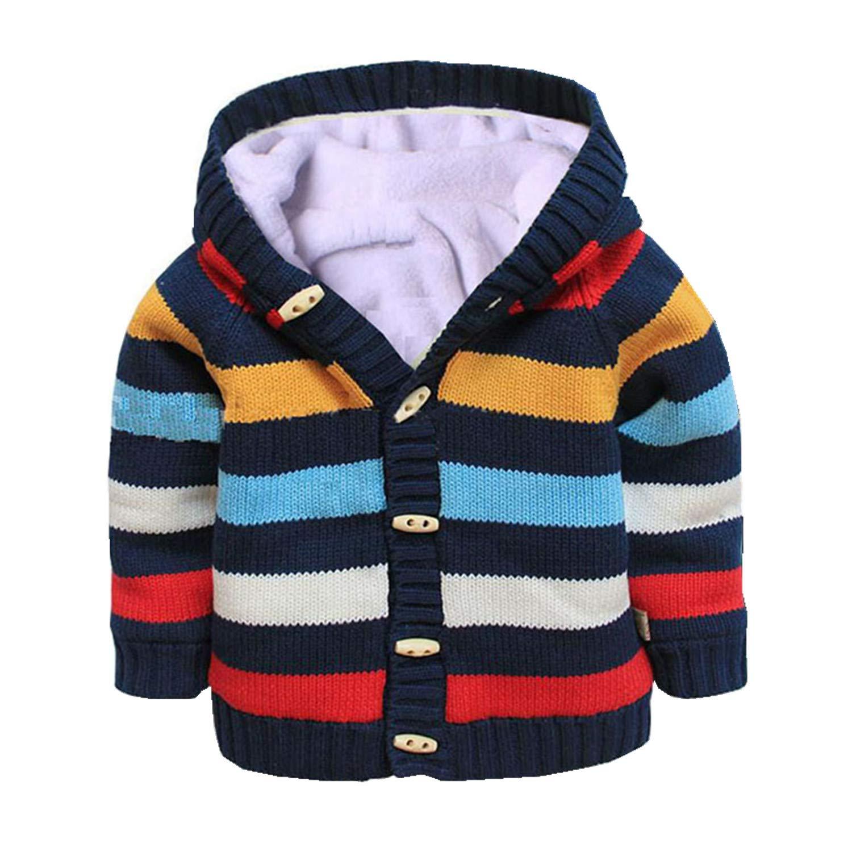 Baby Toddler Boys Girls Striped Long Sleeve Sweaters Cardigan Warm Outerwear Jacket Dark Blue by Dealone