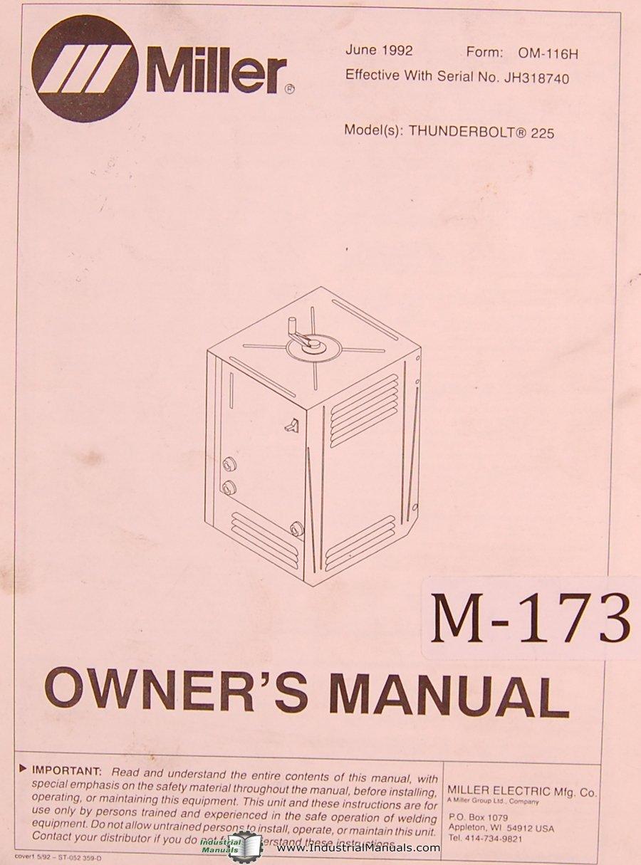 miller thunderbolt 225 arc welder owner s manual miller amazon rh amazon com thunderbolt display user manual thunderbolt duo user manual