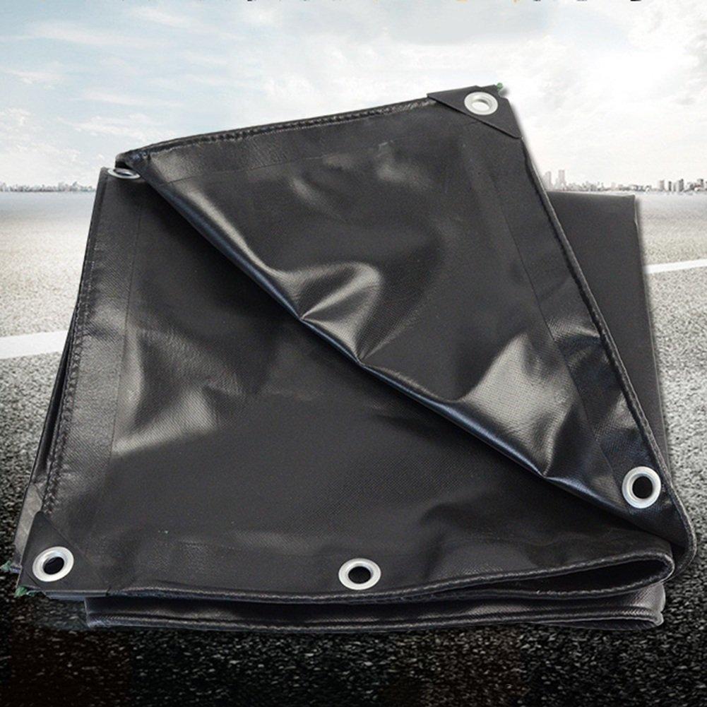 Lixingmingqi 屋外テント防水シート防水防雨サンスクリーンターポリントラック防水シートキャンバスレインカバー引き裂き ブラック 6x6M