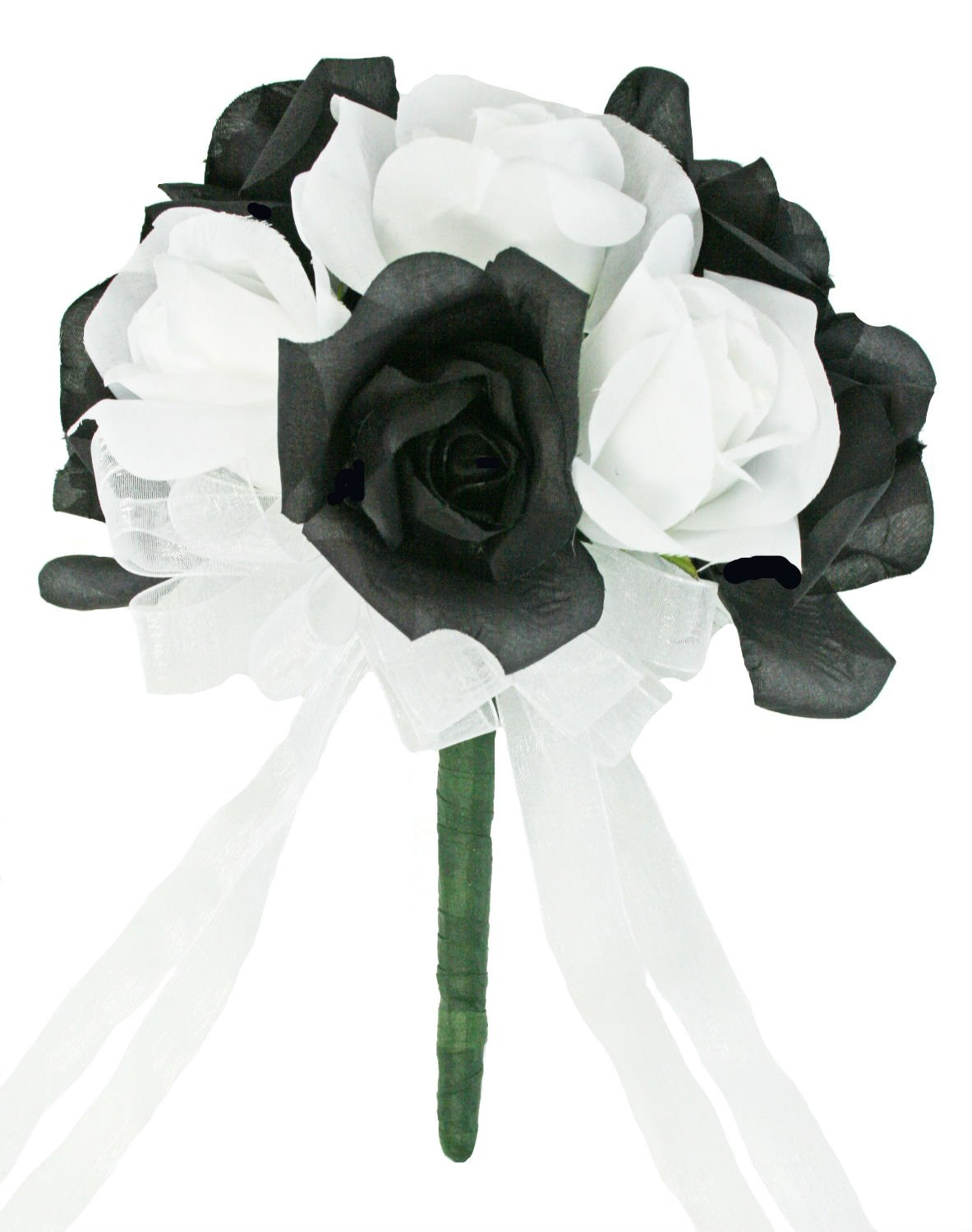 Black And White Silk Rose Toss Bouquet – Artificial Silk Bridal Wedding Bouquet