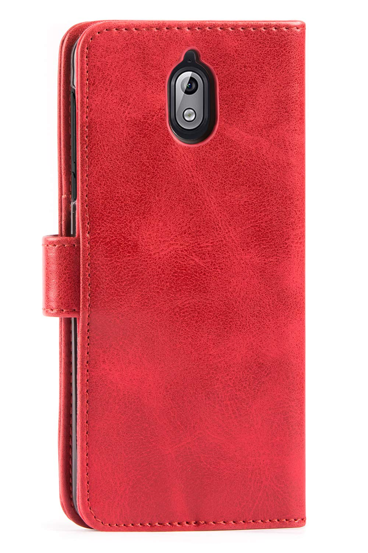 Housse Cuir Nokia 3.1 2018 Housse Portefeuille Magn/étique avec La Fonction Stand pour Nokia 3.1 2018 Vintage Brun Mulbess /Étui Coque en Cuir Nokia 3.1 2018