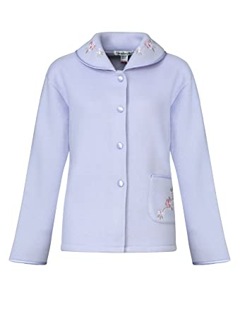 Slenderella Ladies Soft Polar Fleece Button Up Bed Jacket Floral Embroidered  Detail House Coat UK 10 d11f43b31