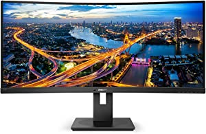 "Philips 346B1C UltraWide 34"" Curved Monitor, UltraWide QHD 2K, USB-C and built-in KVM switch, 119% sRGB, USB-PD 90W, Height Adjustable, PowerSensor , 4Yr Advance Replacement Warranty"