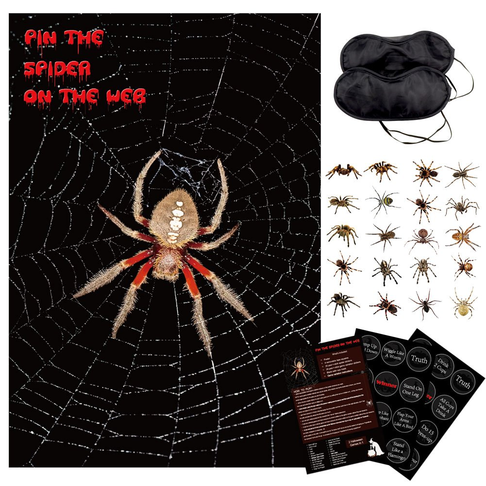 PartyTalk Halloween Party Games for Kids, Pin The Spider on The Web Game for Family Friendly Version and Adult Drinking Games Version