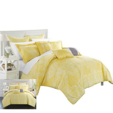 Chic Home 8 Piece Sicily Oversized Overfilled Comforter Set, Queen, Yellow