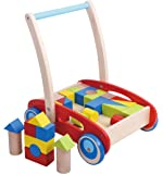 Pidoko Kids Block and Roll Cart Wooden Push and Pull Baby Walker, Red
