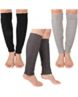 3 Pairs Set Different Colors Women Knitted Stretch Wave Crochet Leg Warmers