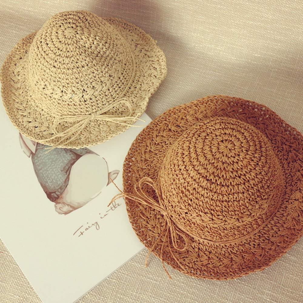 Cool Cap Baby Summer Cute Breathable Sunscreen Sun Hat Childrens hat Girl Beach Hat Teng Peng- Childrens Sun Hat Hand Knit Cap Color : Beige, Size : L