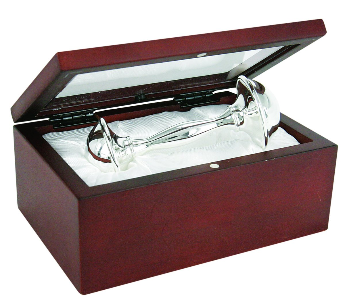 Stephan Baby Satin-Lined Rosewood Keepsake Box with 4-Inch Silver Plated Rattle 537095