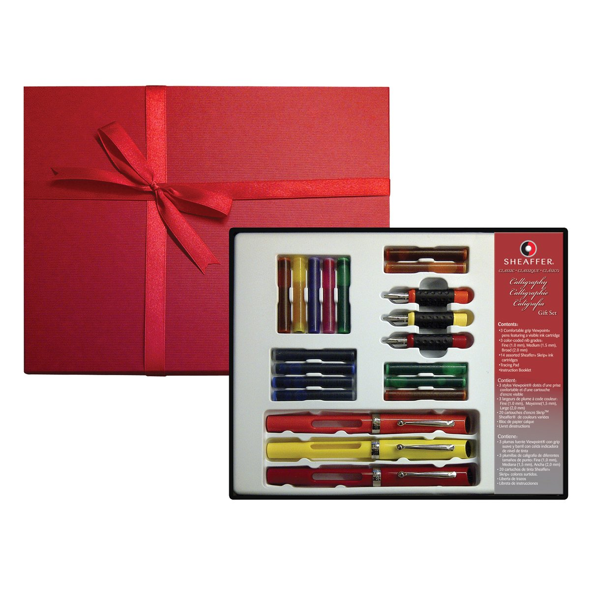 Sheaffer Calligraphy Gift Set, 3 Quill Pens, 3 Nib Grades, 14 Ink Cartridges, Step-by-Step Instructions, Beautiful Gift Box (73408)
