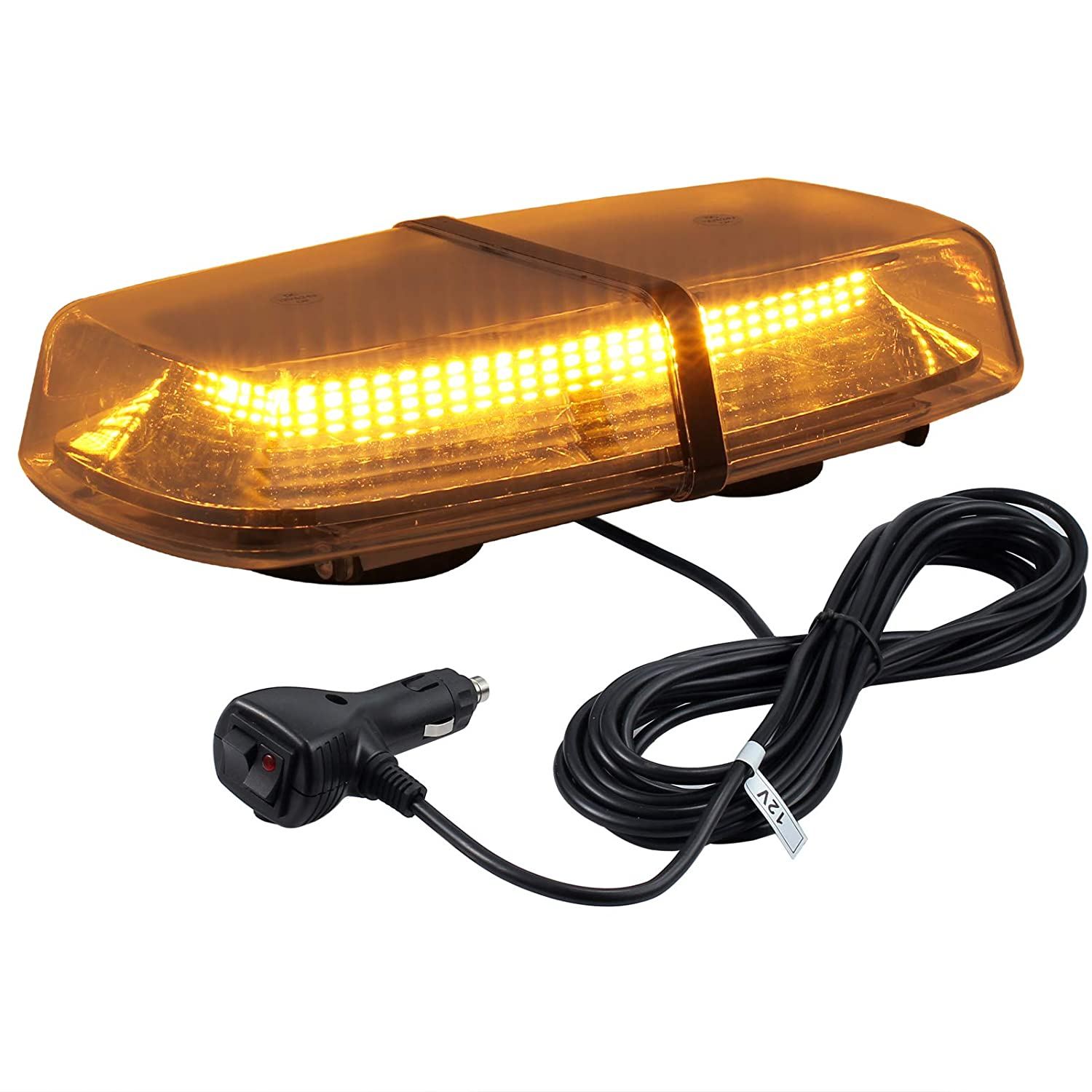 Justech Strobe Lights Flashing Beacon 240 LED Warning Lights Car Emergency Warning Roof Lights Recovery Lights Amber Beacon Van Roof Bar 12V for Van Car Truck Trailer RV Caravan - with Magnetic Base