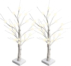 JACKYLED Set of 2 2FT 28 LED Birch Tree Light Battery Operated Warm White Lighted Tree Tabletop Bonsai Tree Light Jewelry Holder Decor for Home Wedding Party Festival Holiday