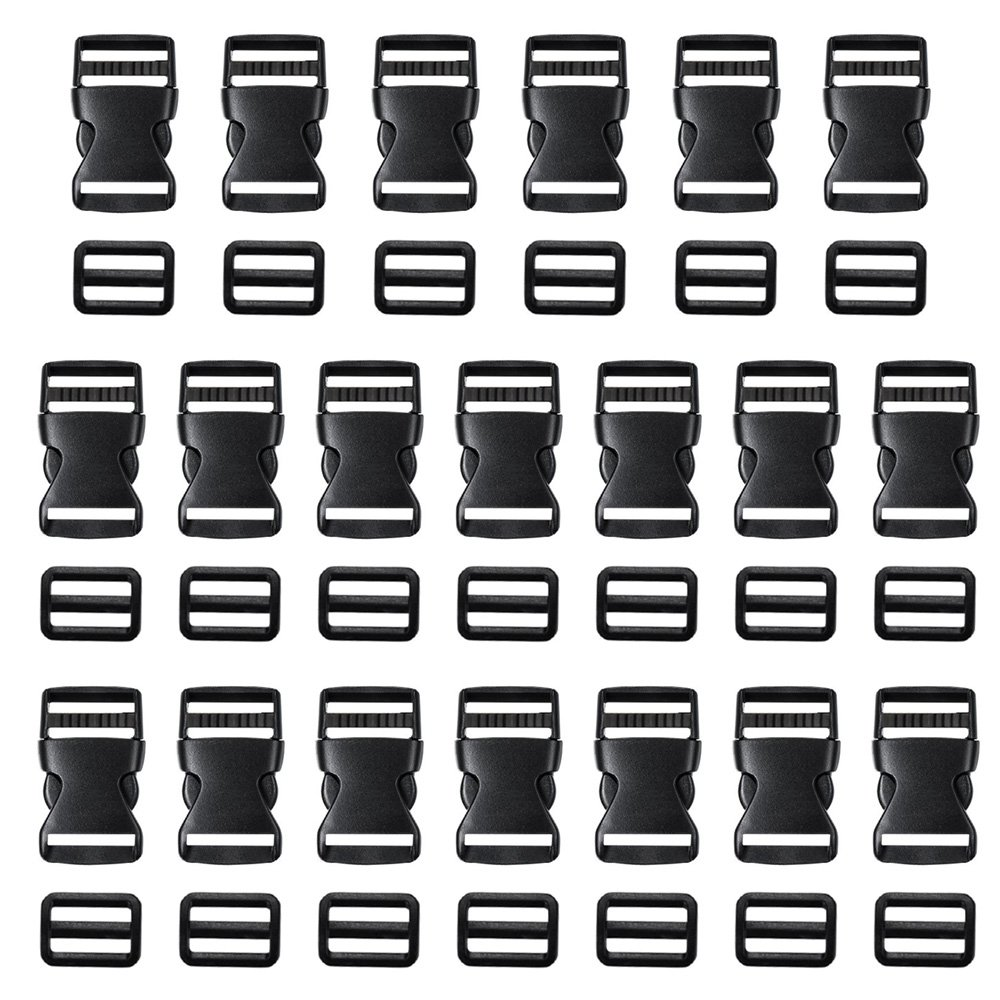 Coopay 20 Pack 1 Inch Flat Side Quick Release Plastic Buckles and 20 Pack 1 Inch Tri-Glide Slides Adjustment Clips 4337001730