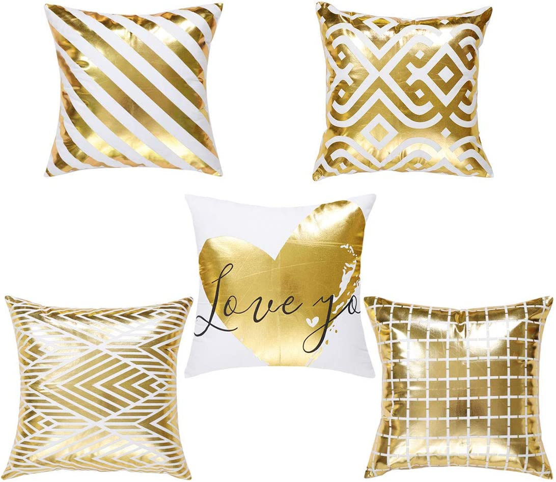 uxcell Pack of 5 Gold Throw Pillow Covers Case Bronzing Flannelette Home Pillowcases Geometric Pattern Heart Design Rock Punk Neoclassical Style Cushion Cover 18x18 Inches
