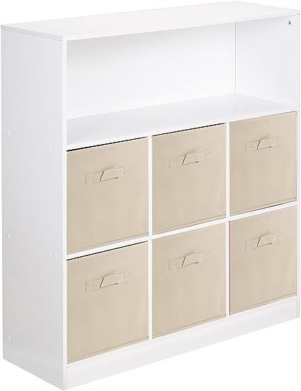 Estantería de 7 cubos y 6 cajones no tejidos, de Urbnliving Estantería blanca + 6 cajones beige.