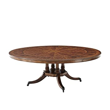 Amazoncom Large Antique Style English Regency Mahogany Round - Circular dining table with extension