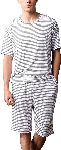 Dolamen Pijamas para Hombre, 2018 Pijamas Hombre Primavera Verano, Hombre Camisones Deportes Corta, Algodón Suave y Cálido Manga Corta y Pantalones Cortos Camiseta: Amazon.es: Ropa y accesorios