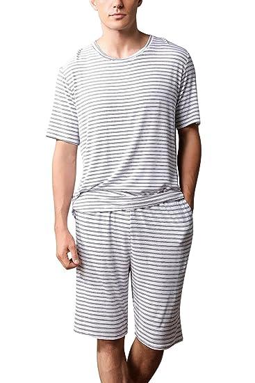 a7b64b421a Dolamen Homme Pyjamas, 2018 Hommes Ensemble de Pyjama Printemps été  vêtements de Sport Coton Ensemble