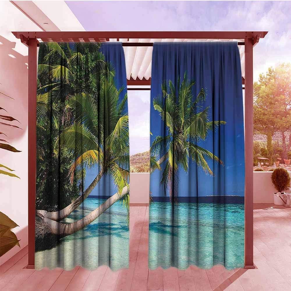 AndyTours - Cortina para Puerta corredera, diseño de Palmeras de Coco Tropical, para Verano, Vacaciones, Acuarelas, Cuadros, Cortinas Opacas para recámara, Ciruela, Azul pálido, Lila: Amazon.es: Jardín