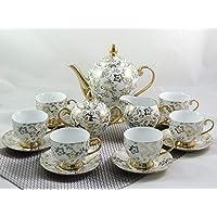 Xiongji Goldserie - Juego de café, Porcelana, 15