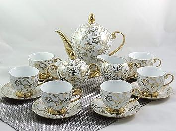 photos officielles 98763 f704d Service à thé ou café 15 pièces, décor en or