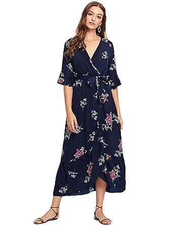 25cc9148a5649 Milumia Women s Boho Deep V Neck Floral Chiffon Wrap Split Long Maxi Dress  Navy-3 Small  Amazon.co.uk  Clothing