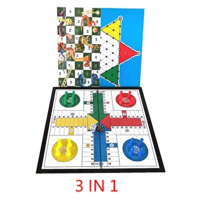 Novahobby 3 in 1 Travel Portable Board Game Folding Magnetic Ludo, Chinese Checkers, Snakes & Ladders 9.8 inch Size: Toys & Games