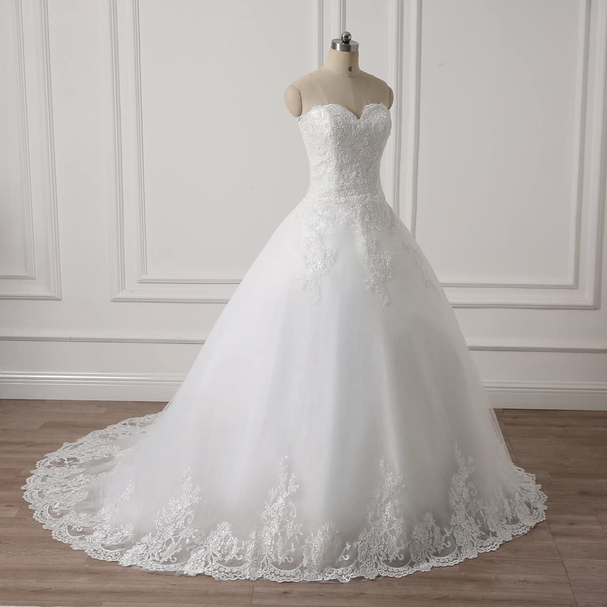 YIPEISHA Sweetheart Sleeveless Princess Lace Wedding Dresses A-line Tulle Corset Puffy Bridal Gown