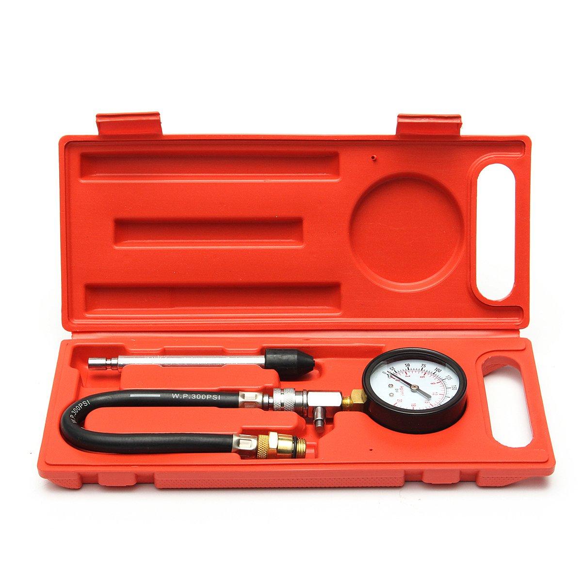 Cylinder Compression Test Kit, MeiBoAll 0-300 PSI Engine Cylinder Compression Tester Cylinder Leakage Leak Detector