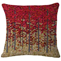Oil Painting Black Large Tree Red leaves Cotton Linen Throw Pillow Case Cushion Cover Home Sofa Decorative 18 X 18 Inch