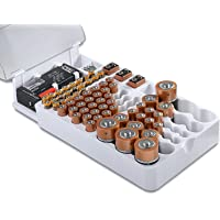 Lenoxx Battery Storage with Clear Cover Holds 93 Various Size Batteries Includes a Removable Tester