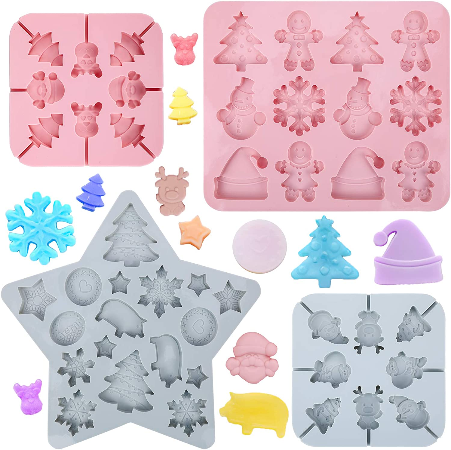 Konsait 4 Pack Christmas Silicone Moulds, Snowflake Snowman Christmas Tree Hat Reindeer Piggie Santa Candy Chocolate lollipop Silicone Molds, Cookies Baking Tools for Xmas Decorations Party Supplies