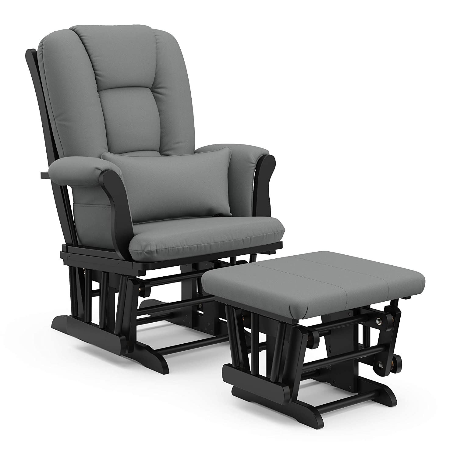Storkcraft Tuscany Custom Glider and Ottoman with Free Lumbar Pillow, Black/Grey, Cleanable Upholstered Comfort Rocking Nursery Chair with Ottoman