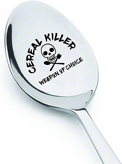 gift for teens cereal spoon funny spoon Stamped spoon cereal killer cereal killer spoon